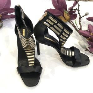 BCBG black and peep toe heels with gold plating
